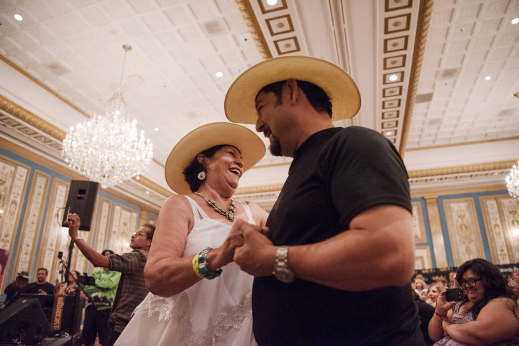 Phyllis Narromore, left, and Felix Vargas dance to the music at the Tejano Music National Convention at Paris hotel-casino on Saturday, July 1, 2017, in Las Vegas. Morgan Lieberman Las Vegas Revie ...