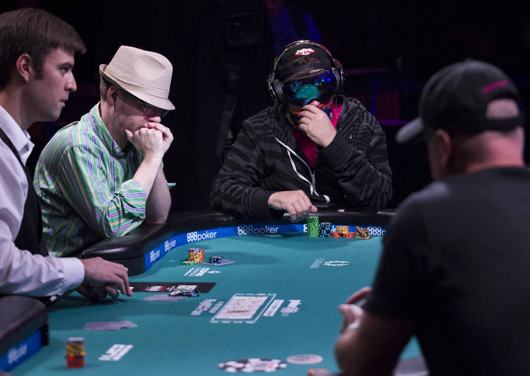 Phil Laak, center, during the World Series of Poker Main Event day 1A at the Rio Convention Center in Las Vegas, Saturday, July 8, 2017. Erik Verduzco Las Vegas Review-Journal @Erik_Verduzco