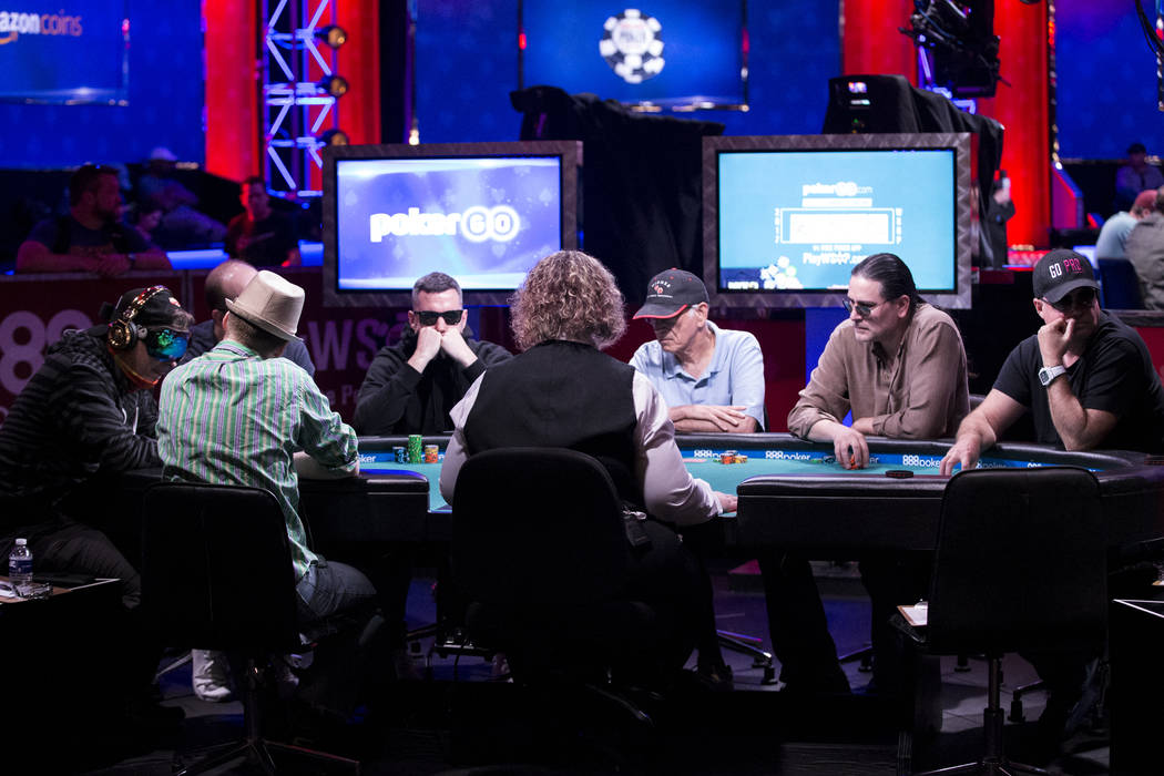 A featured and televised table in the World Series of Poker Main Event day 1A at the Rio Convention Center in Las Vegas, Saturday, July 8, 2017. Erik Verduzco Las Vegas Review-Journal @Erik_Verduzco