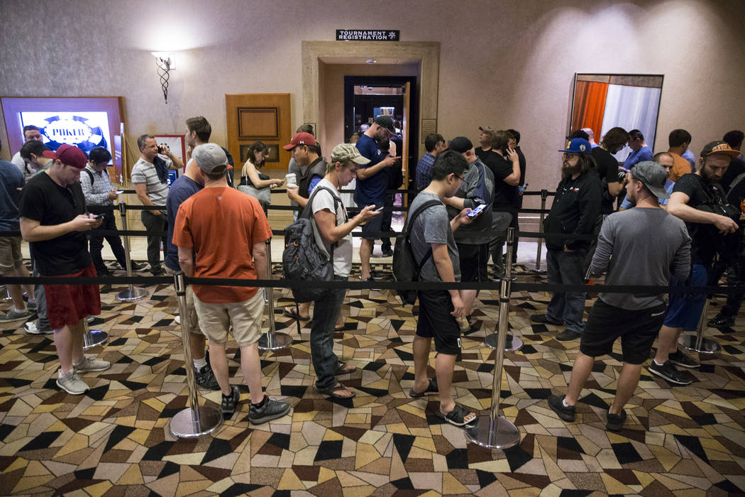 People in line to register for the World Series of Poker Main Event day 1A at the Rio Convention Center in Las Vegas, Saturday, July 8, 2017. Erik Verduzco Las Vegas Review-Journal @Erik_Verduzco