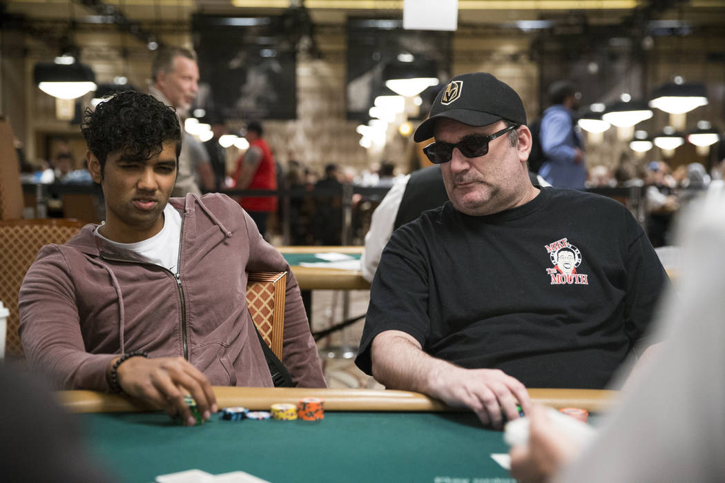 Pratyush Buddiga, left, and Mike Matusow during the World Series of Poker main event day 1A at the Rio Convention Center in Las Vegas, Saturday, July 8, 2017. Erik Verduzco Las Vegas Review-Journa ...