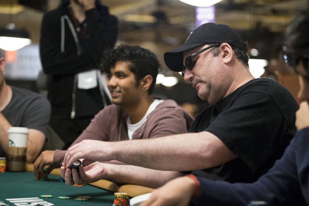 Mike Matusow, right, during the World Series of Poker main event day 1A at the Rio Convention Center in Las Vegas, Saturday, July 8, 2017. Erik Verduzco Las Vegas Review-Journal @Erik_Verduzco