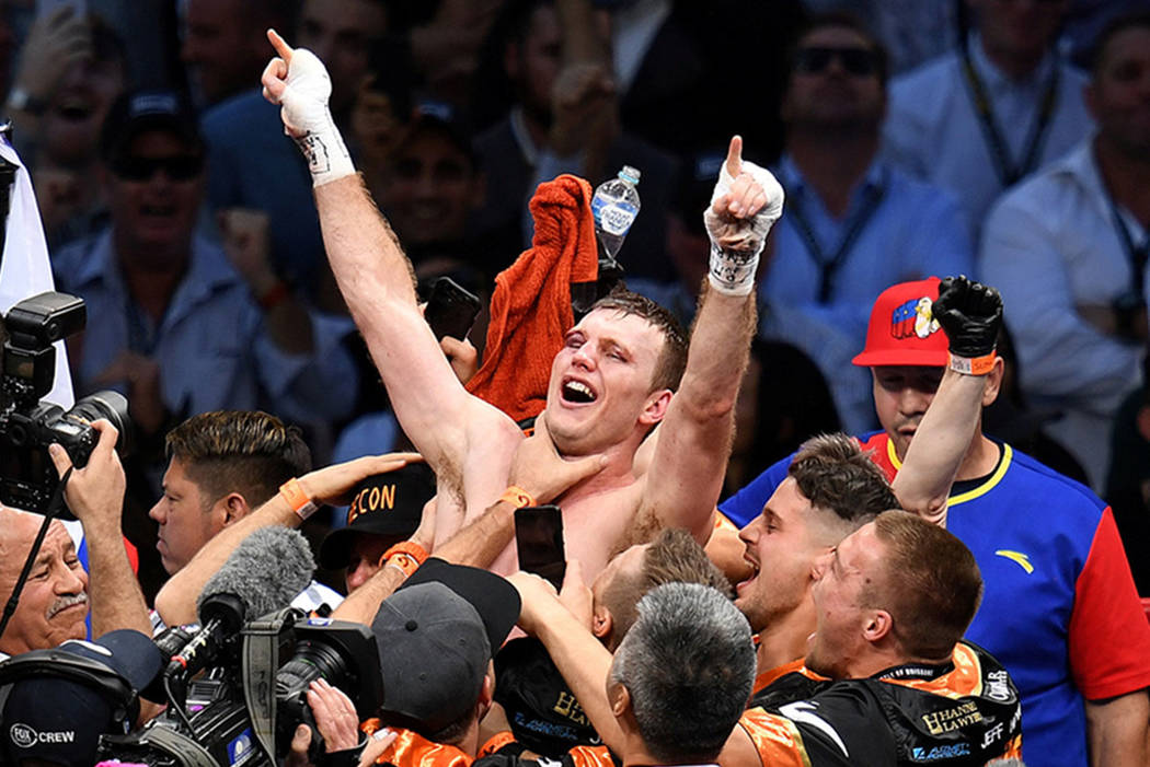 Jeff Horn of Australia celebrates his win over Manny Pacquiao of the Philippines. (AAP/Dan Peled/via Reuters)