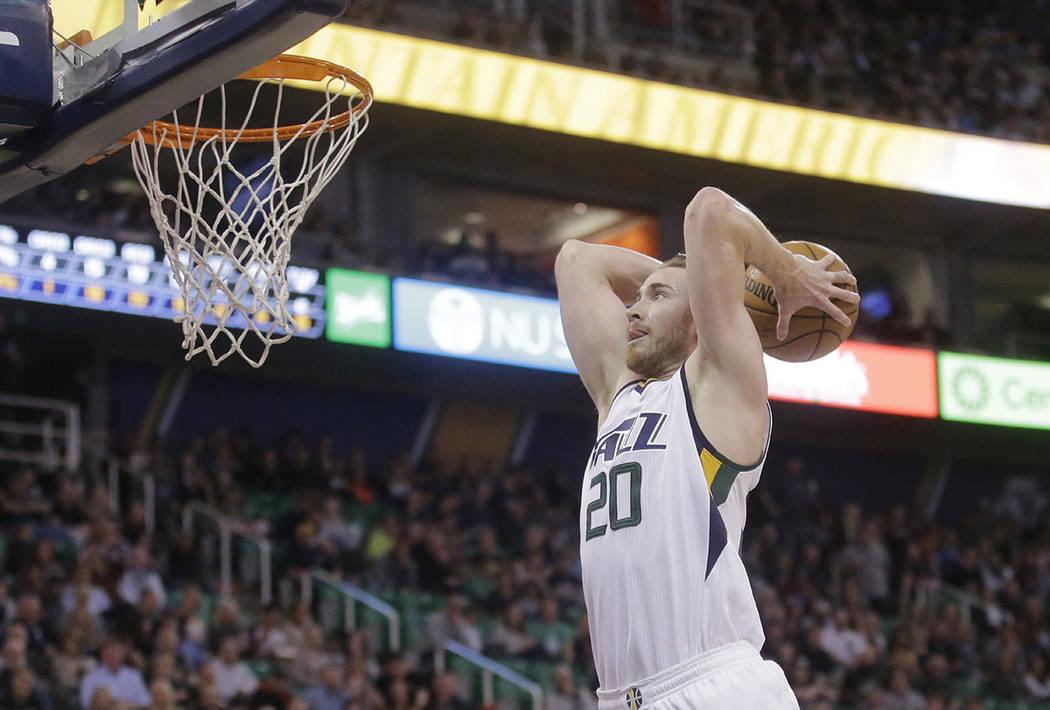 Utah Jazz forward Gordon Hayward goes up for a dunk against the Brooklyn Nets during NBA basketball game in Salt Lake City. (AP Photo/Rick Bowmer, File)
