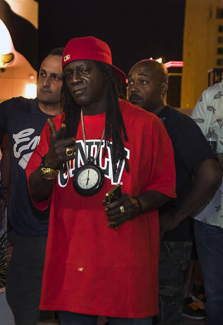 Flavor Flav and friends during the Plaza Pool Nights Fourth of July party on Saturday, July 1, 2017. (Plaza hotel-casino).