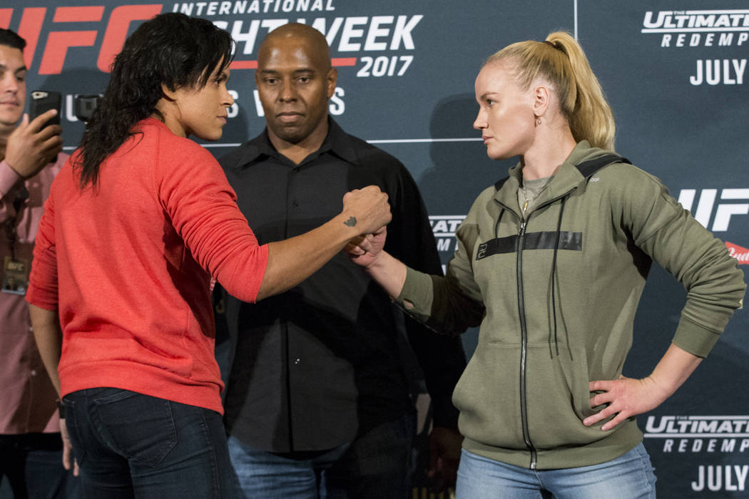 UFC fighter Amanda Nunes, left, and Valentina Shevchenko during UFC 213 media day at JW Marriott Los Angeles L.A. LIVE hotel in Los Angeles, Calif., on Thursday, June 29, 2017. Erik Verduzco Las V ...