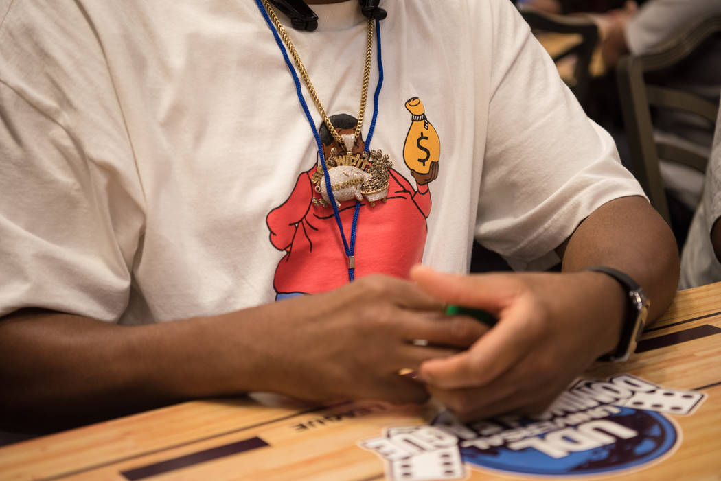 A Fat Albert shirt is worn at the Summer Slam Domino Tournament hosted by the The Universal Domino League at Westgate hotel-casino on Saturday, July 8, 2017, in Las Vegas. Morgan Lieberman Las Veg ...