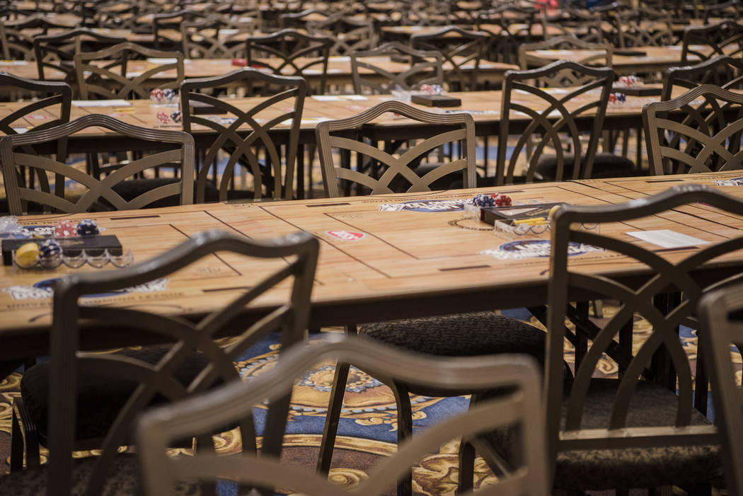 """Empty chairs in each game """"zone"""" at the Summer Slam Domino Tournament hosted by the The Universal Domino League at Westgate hotel-casino on Saturday, July 8, 2017, in Las Vegas.  ..."""