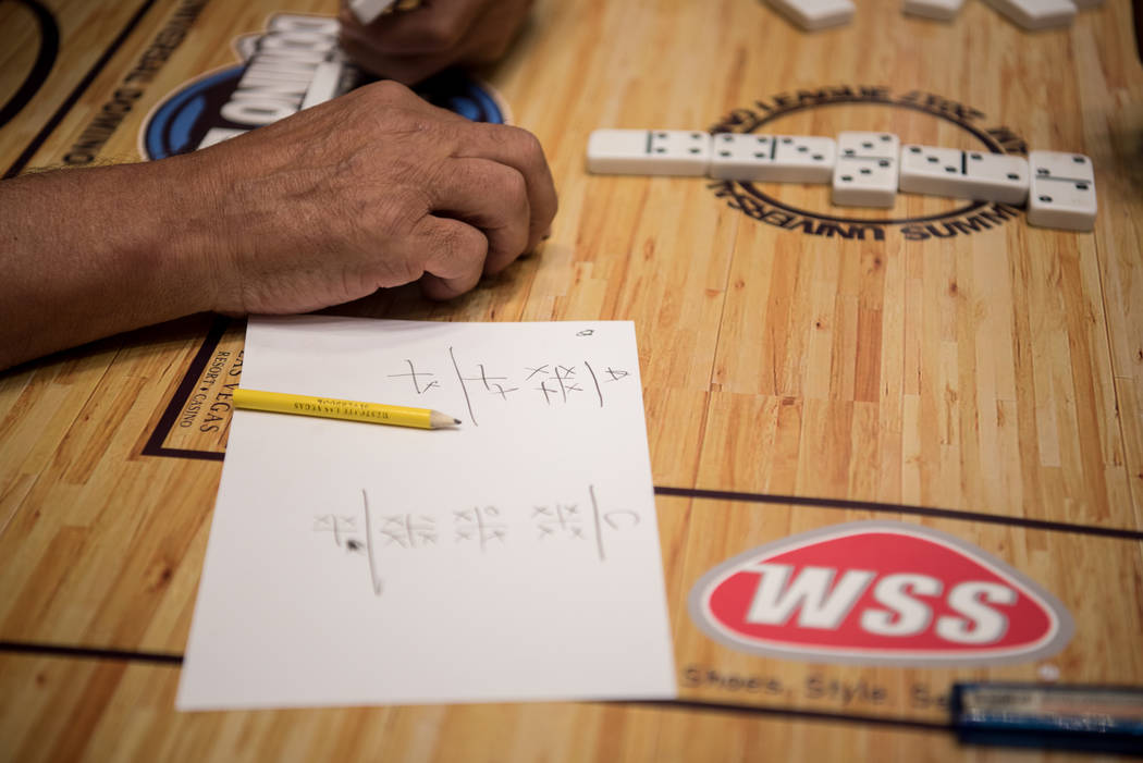 August Santana plays in the first round at the Summer Slam Domino Tournament hosted by the The Universal Domino League at Westgate hotel-casino on Saturday, July 8, 2017, in Las Vegas. Morgan Lieb ...
