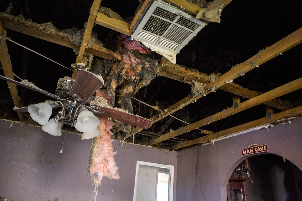 The burnt remains of a home on Madison Avenue, which likely caught on fire from neighbors using illegal fireworks, in central Las Vegas on Monday, July 3, 2017.  Patrick Connolly Las Vegas Review- ...
