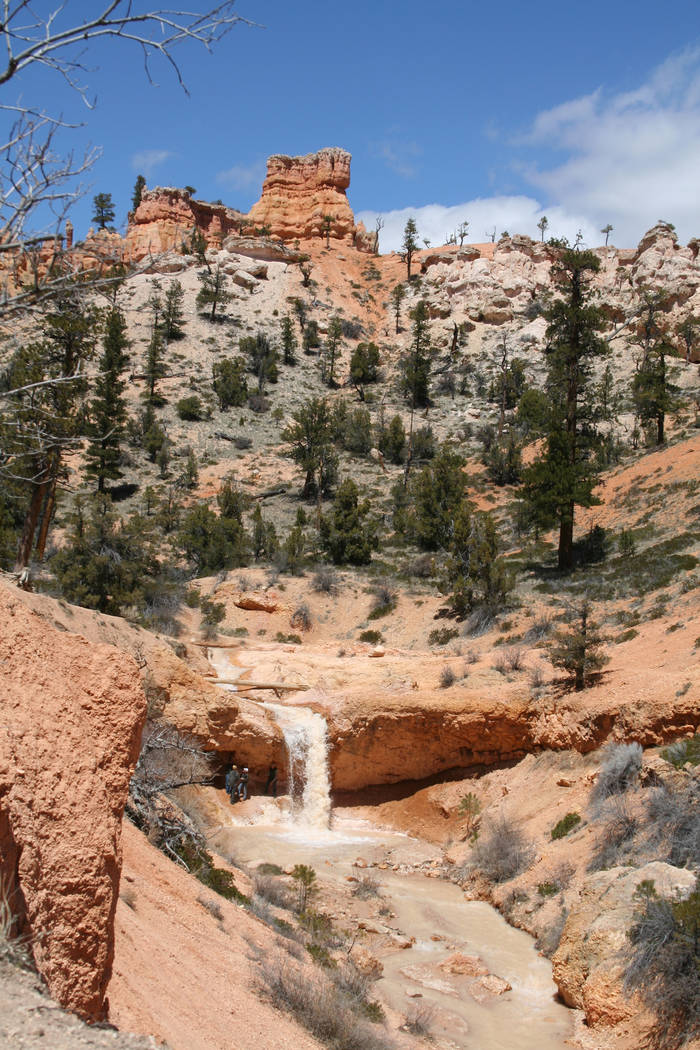 Hikers check out the fifteen foot waterfall found along the Mossy Cave Trail in Bryce Canyon National Park, Utah. (Deborah Wall)
