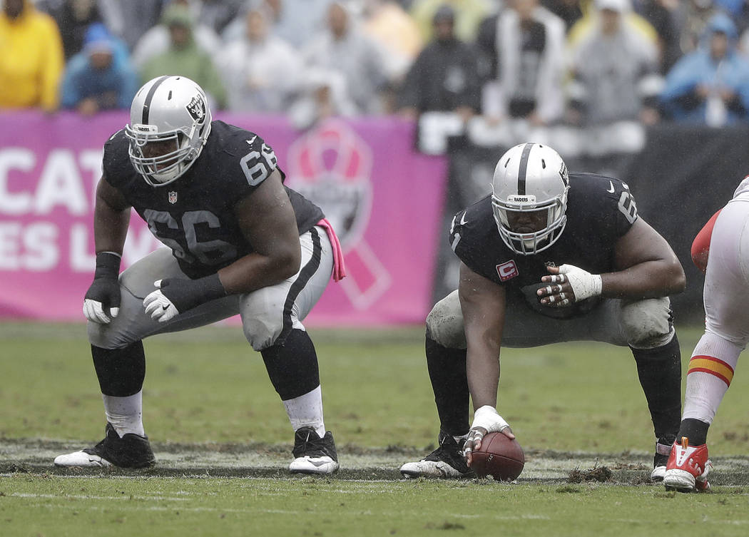 Oakland Raiders guard Gabe Jackson (66) and center Rodney Hudson (61) against the Kansas City Chiefs during an NFL football game in Oakland, Calif., Sunday, Oct. 16, 2016. (AP Photo/Marcio Jose Sa ...