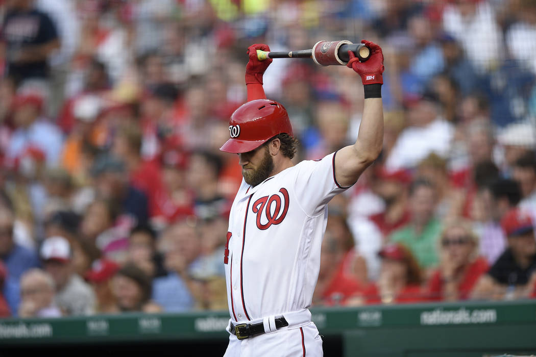 Washington Nationals' Bryce Harper stands on deck during a baseball game against the Chicago Cubs, Wednesday, June 28, 2017, in Washington. (AP Photo/Nick Wass)