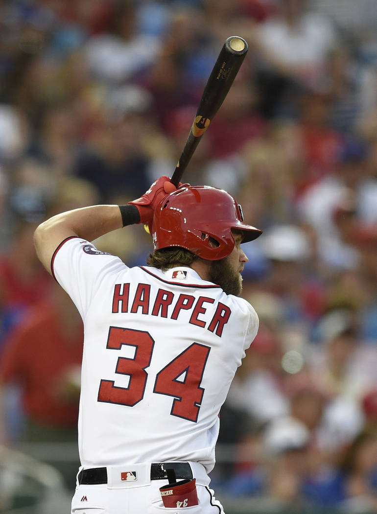 Washington Nationals' Bryce Harper bats during a baseball game against the Chicago Cubs, Wednesday, June 28, 2017, in Washington. (AP Photo/Nick Wass)