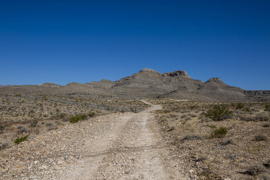 A 650-acre site, including a mountain, center right, recently bought by a Southern Nevada contractor in Apex on Wednesday, July 5, 2017. (Patrick Connolly/Las Vegas Review-Journal) @PConnPie