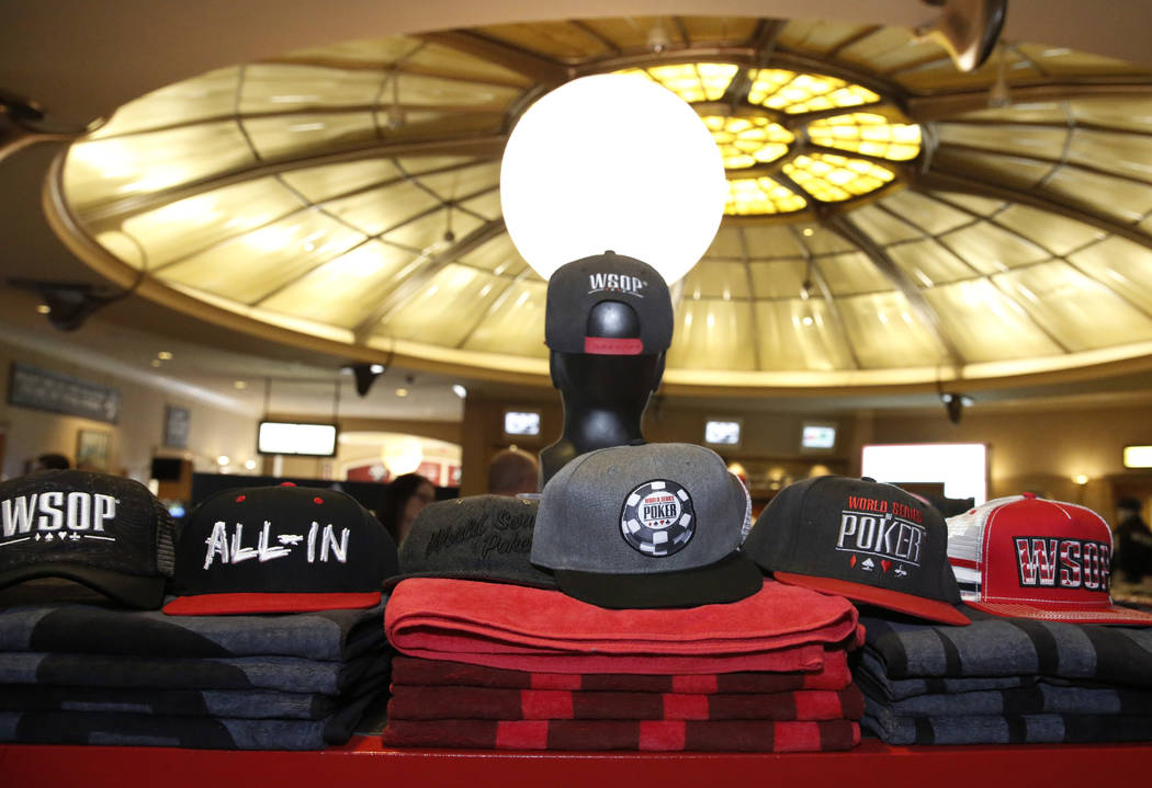 The 2017 World Series of Poker hats and T-shirts at the Rio hotel-casino's gift sho on Friday, July 7, 2017, in Las Vegas. Bizuayehu Tesfaye Las Vegas Review-Journal @bizutesfaye