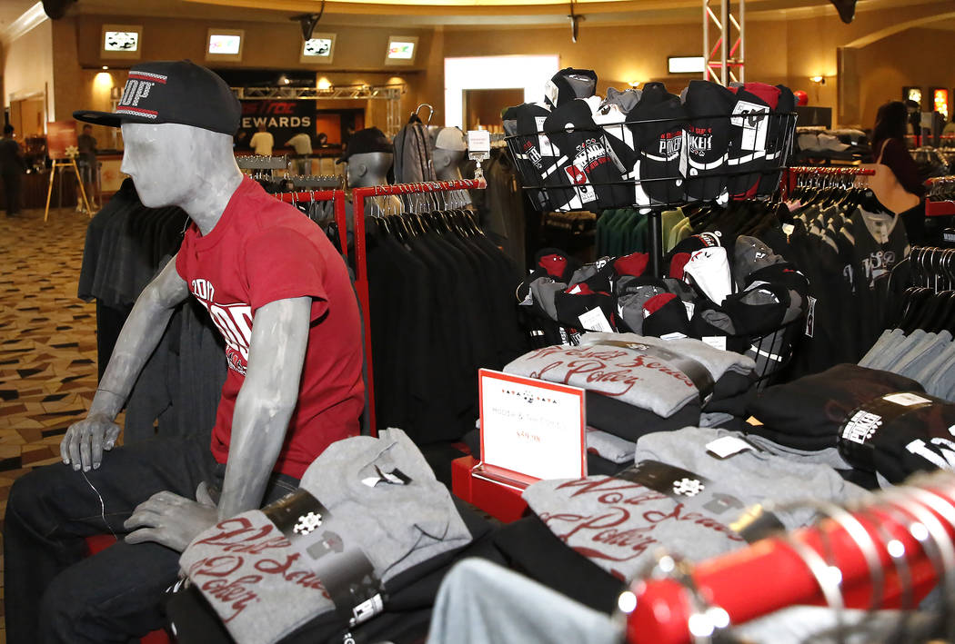 The 2017 World Series of Poker hats and T-shirts at the Rio hotel-casino's gift shop on Friday, July 7, 2017, in Las Vegas. (Bizuayehu Tesfaye/Las Vegas Review-Journal) @bizutesfaye