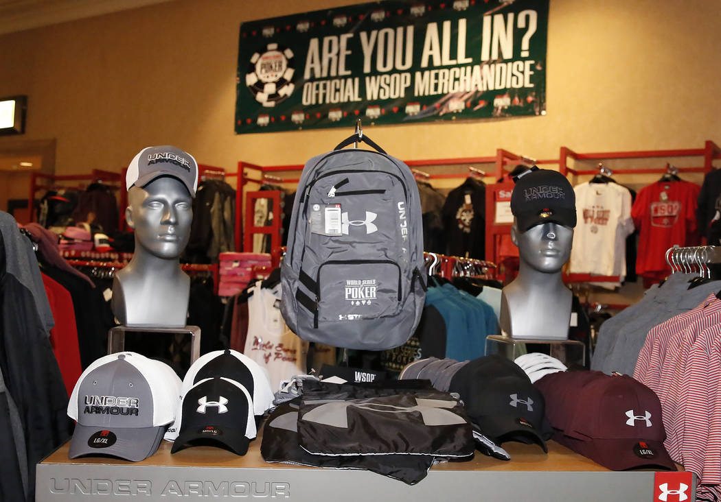 The 2017 World Series of Poker merchandise at the Rio hotel-casino's gift shop on Friday, July 7, 2017, in Las Vegas. (Bizuayehu Tesfaye/Las Vegas Review-Journal) @bizutesfaye