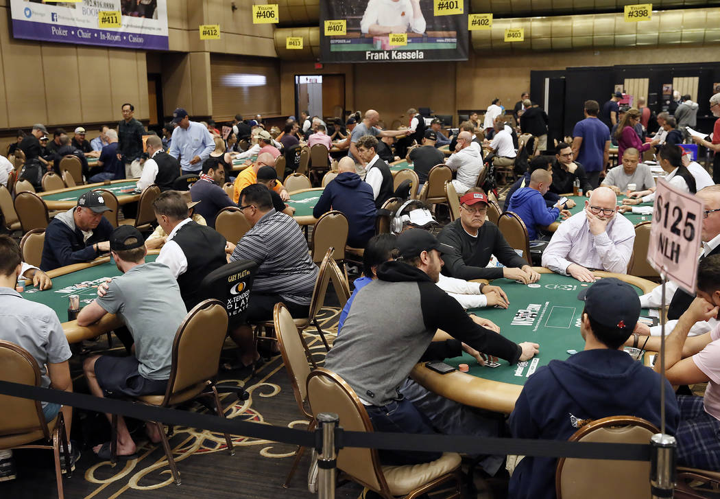 Poker players at the 2017 World Series of Poker at the Rio Convention Center in Las Vegas on Friday, July 7, 2017, in Las Vegas. (Bizuayehu Tesfaye/Las Vegas Review-Journal) @bizutesfaye