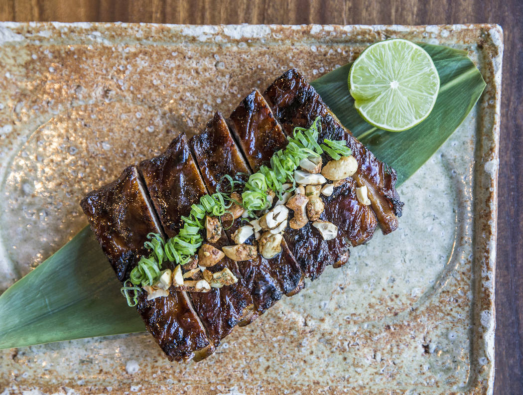 Glazed ribs with cashew nut and scallion at Zuma at The Cosmopolitan Las Vegas. (Benjamin Hager/Las Vegas Review-Journal) @benjaminhphoto