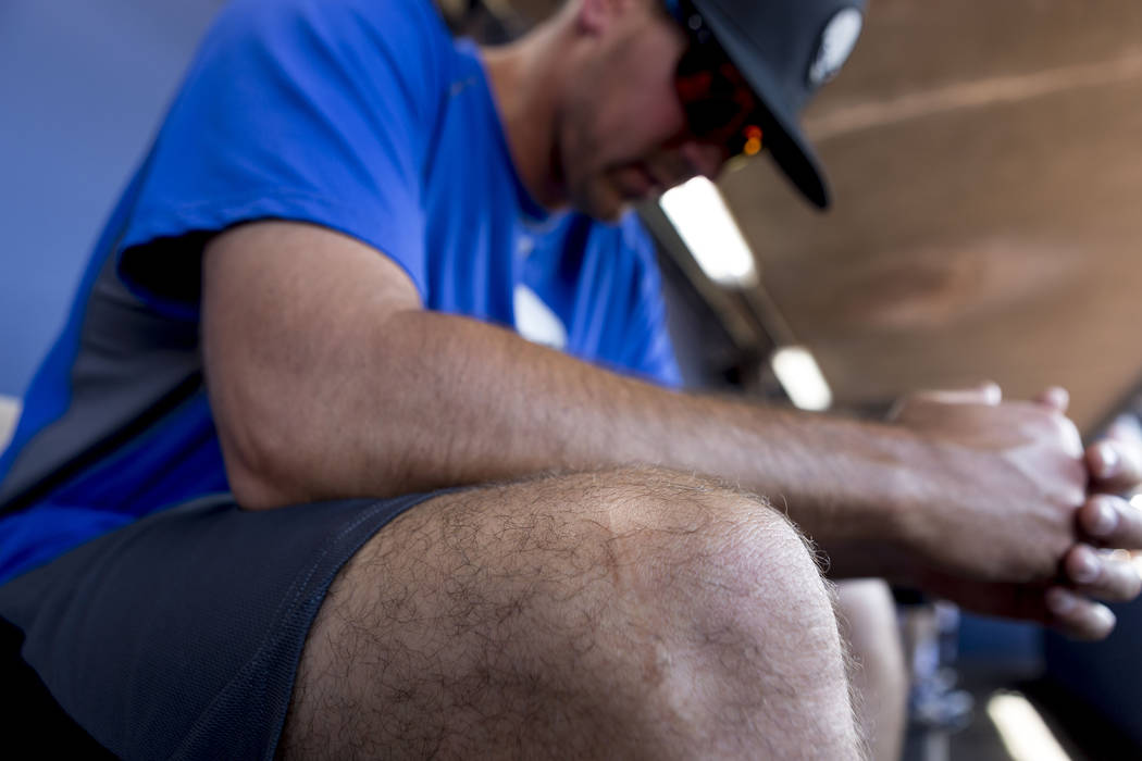 Las Vegas 51s pitcher Beck Wheeler's knee still has a scar   from a boating accident in 2007, at Cashman Field in Las Vegas, Wednesday, July 5, 2017. Elizabeth Brumley Las Vegas Review-Journal