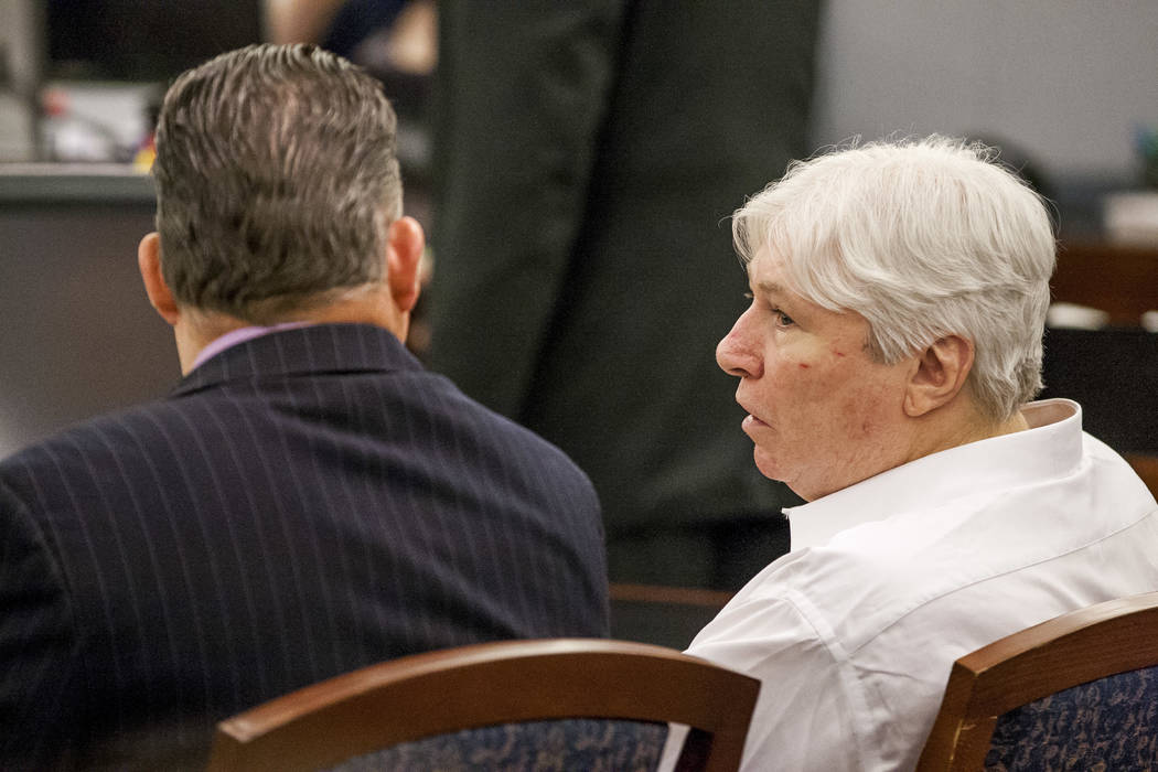 Thomas Randolph talks with his attorney, Clark Patrick, before being sentenced to during the penalty phase of his murder trial at the Regional Justice Center in Las Vegas on Wednesday, July 5, 201 ...