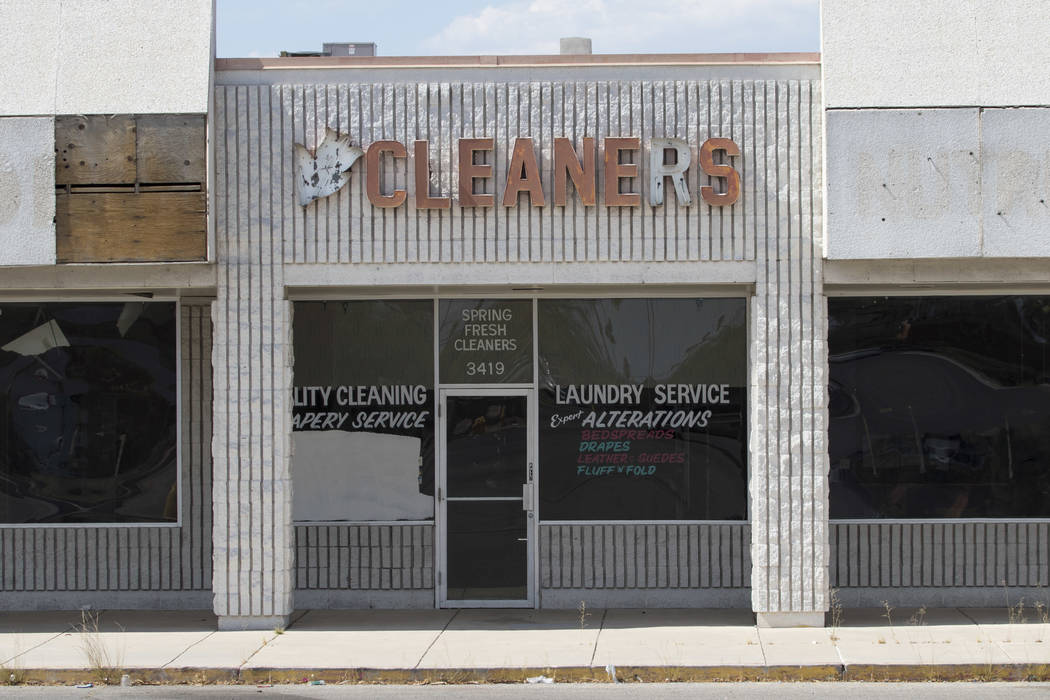 A shuttered dry cleaning business at the Rainbow Dunes Centre located at the northwest corner of Rainbow Boulevard and Spring Mountain Road in Las Vegas, Thursday, July 6, 2017.  Richard Brian Las ...