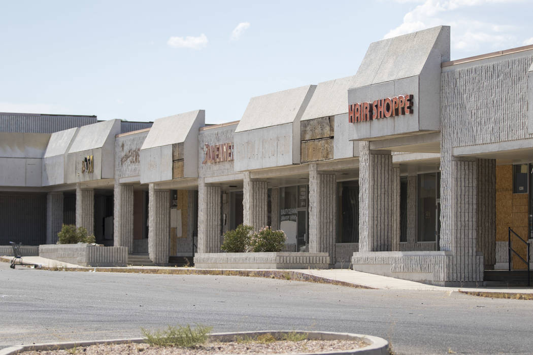 A row of shuttered businesses at the Rainbow Dunes Centre located at the northwest corner of Rainbow Boulevard and Spring Mountain Road in Las Vegas, Thursday, July 6, 2017.  Richard Brian Las Veg ...
