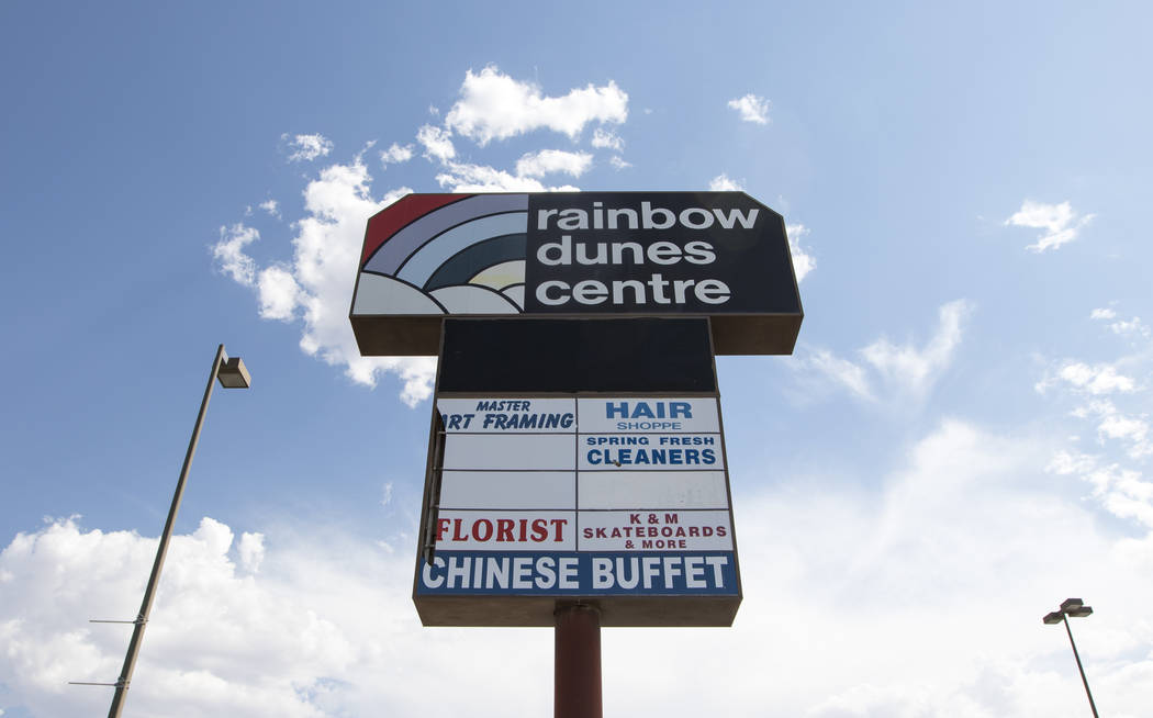 The Rainbow Dunes Centre sign located at the northwest corner of Rainbow Boulevard and Spring Mountain Road in Las Vegas, Thursday, July 6, 2017.  Richard Brian Las Vegas Review-Journal @vegasphot ...