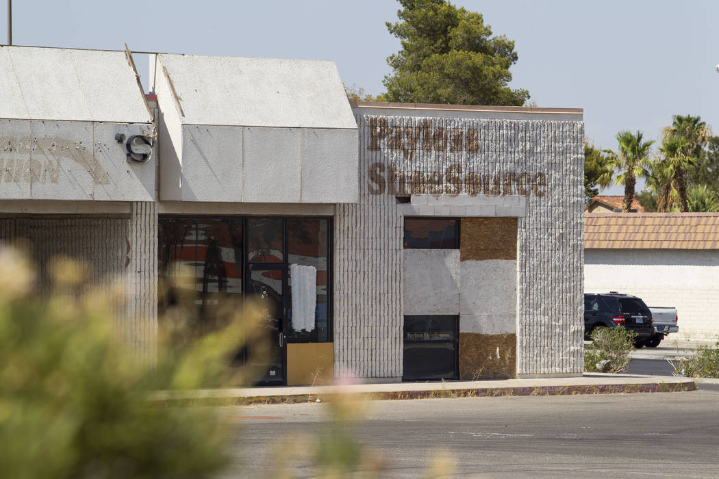 A boarded-up Payless Shoe Source at the Rainbow Dunes Centre located at the northwest corner of Rainbow Boulevard and Spring Mountain Road in Las Vegas, Thursday, July 6, 2017.  Richard Brian Las  ...