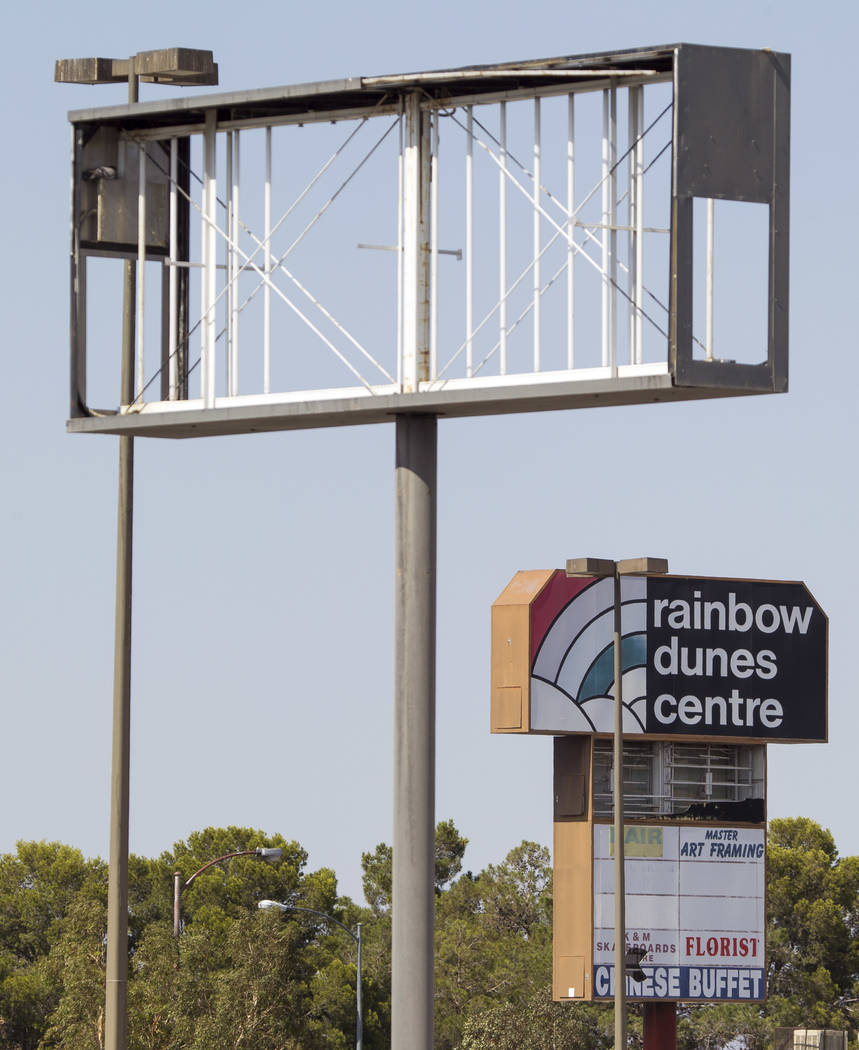Dilapidated signs at the Rainbow Dunes Centre located at the northwest corner of Rainbow Boulevard and Spring Mountain Road in Las Vegas, Thursday, July 6, 2017.  Richard Brian Las Vegas Review-Jo ...