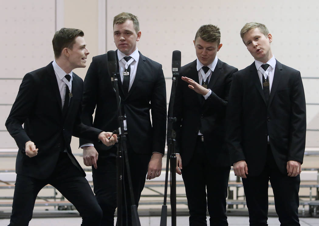 The Blindside from Brisbane, Australia, Gareth Clarke, left, Michael Webber, Tim Green, and Trent Lewis, right, perform at Bally's hotel-casino during the 2017 Barbershop Harmony Society's  ...