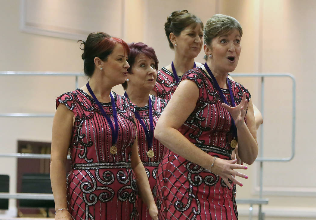 The PZAZZ from England perform at Bally's hotel-casino during the 2017 Barbershop Harmony Society's international convention on Saturday, July 8, 2017, in Las Vegas. Bizuayehu Tesfaye/Las V ...