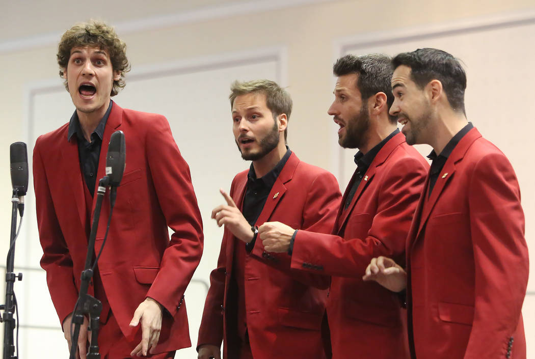 The Hanfris from Spain, Juan Bertrand, left, Adrià Sivilla, Jordi Forcadell, and Gener Salicrú, right, perform at Bally's hotel-casino during the 2017 Barbershop Harmony Society's ...