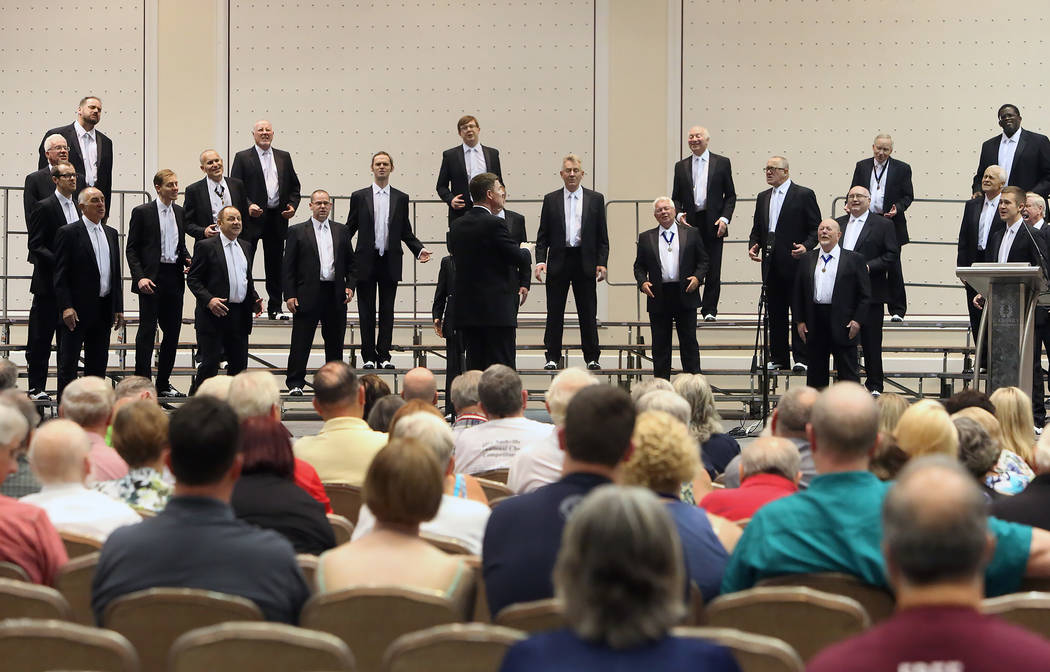 The Cottontown Chorus from Bolton, England perform at Bally's hotel-casino during the 2017 Barbershop Harmony Society's international convention on Saturday, July 8, 2017, in Las Vegas. Biz ...