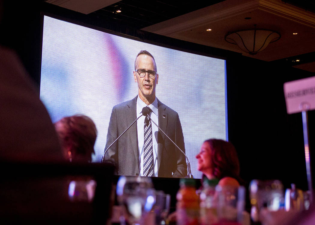 Executive Director of Professional Beauty Association Steve Sleeper speaks during the Professional Beauty Association's (PBA) Business Forum during Cosmoprof North America at Mandalay Bay in Las V ...