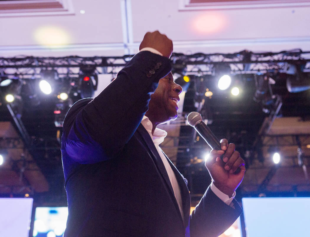"Businessman and former basketball star Earvin ""Magic"" Johnson delivers the keynote speech for the Professional Beauty Association Business Forum during Cosmoprof North America at ..."
