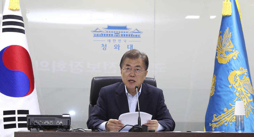 South Korean President Moon Jae-in speaks as he presides over a meeting of the National Security Council at the presidential Blue House in Seoul, South Korea, Tuesday, July 4, 2017. North Korea on ...