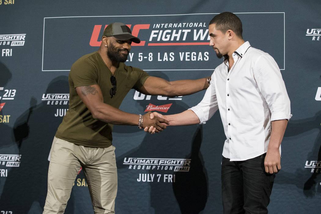 Yoel Romero, left, and Robert Whittaker during UFC 213 media day in Los Angeles, Calif., on Thursday, June 29, 2017. Erik Verduzco Las Vegas Review-Journal @erik_verduzco
