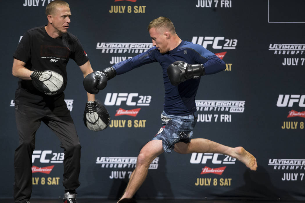 Justin Gaethje, right, during UFC open workouts at the Park Theater inside Monte Carlo hotel-casino in Las Vegas on Wednesday, July 5, 2017. Erik Verduzco Las Vegas Review-Journal @erik_verduzco