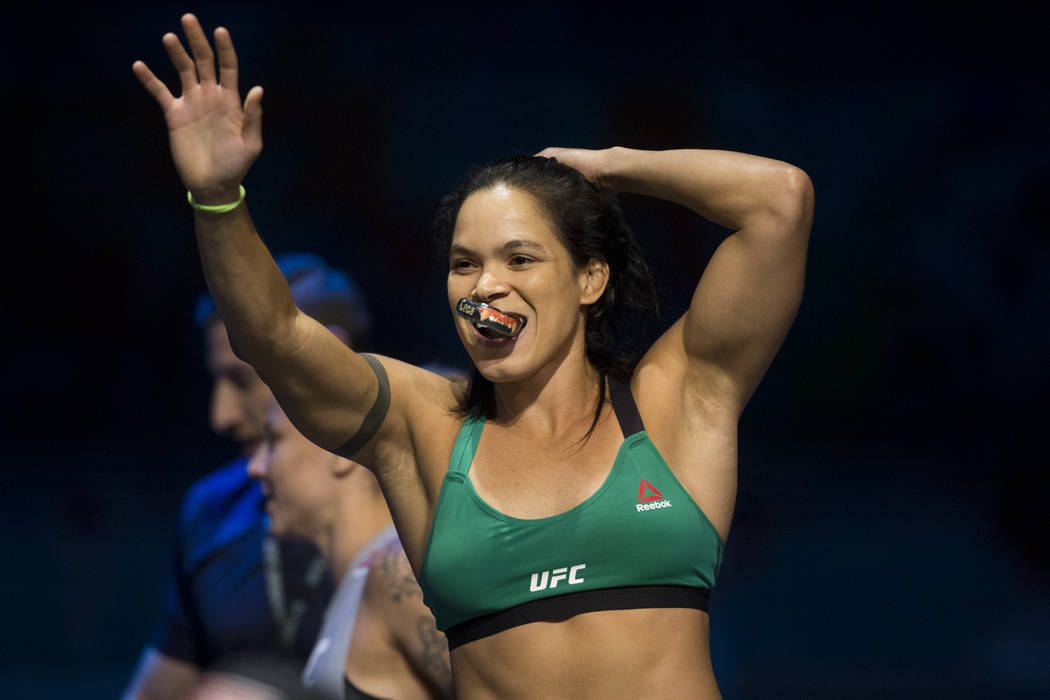 Amanda Nunes during UFC open workouts at the Park Theater inside Monte Carlo hotel-casino in Las Vegas on Wednesday, July 5, 2017. Erik Verduzco Las Vegas Review-Journal @erik_verduzco