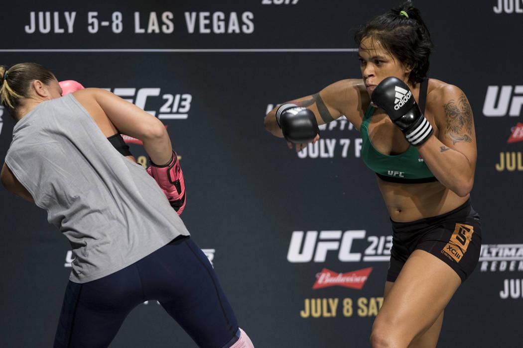 Amanda Nunes, right, during UFC open workouts at the Park Theater inside Monte Carlo hotel-casino in Las Vegas on Wednesday, July 5, 2017. Erik Verduzco Las Vegas Review-Journal @erik_verduzco