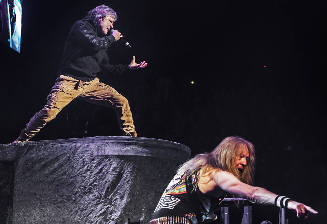 Iron Maiden lead singer Bruce Dickinson, left, and guitarist Janick Gers perform on Monday, July 3, 2017, at T-Mobile Arena, in Las Vegas. Benjamin Hager Las Vegas Review-Journal @benjaminhphoto