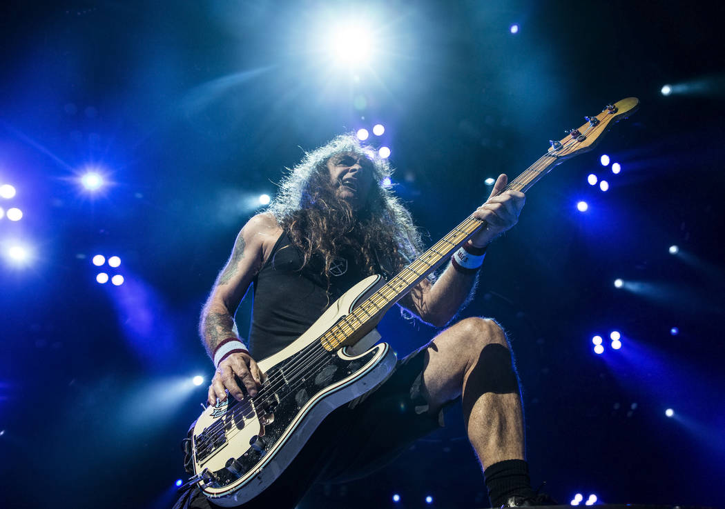 Iron Maiden bass guitarist Steve Harris performs on Monday, July 3, 2017, at T-Mobile Arena, in Las Vegas. Benjamin Hager Las Vegas Review-Journal @benjaminhphoto
