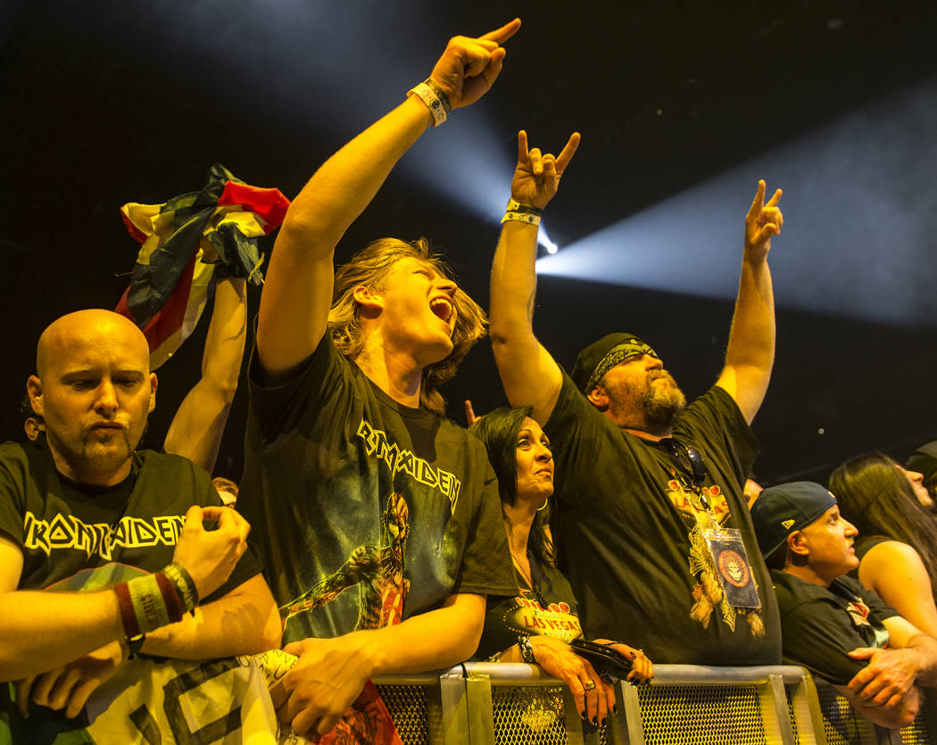 Iron Maiden fans cheer for the English metal band on Monday, July 3, 2017, at T-Mobile Arena, in Las Vegas. Benjamin Hager Las Vegas Review-Journal @benjaminhphoto