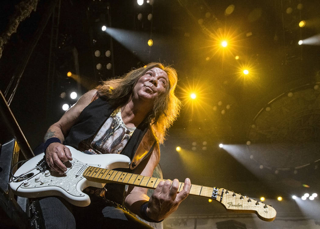 Iron Maiden guitarist Dave Murray performs on Monday, July 3, 2017, at T-Mobile Arena, in Las Vegas. Benjamin Hager Las Vegas Review-Journal @benjaminhphoto