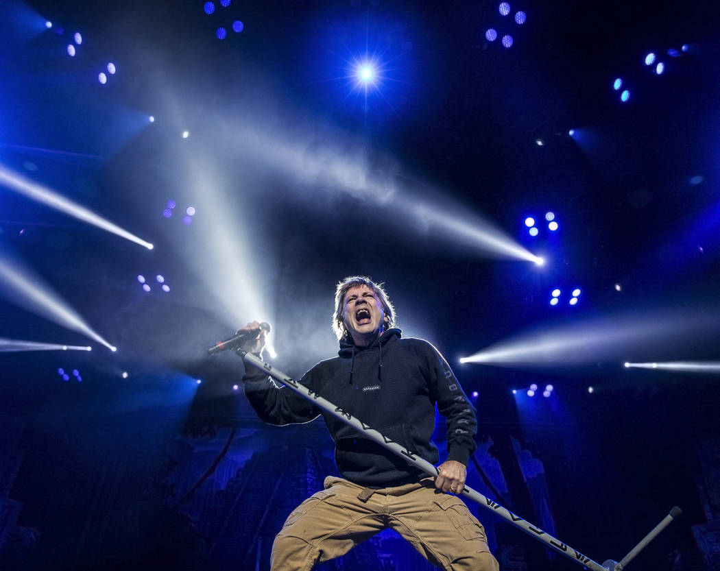 Iron Maiden lead singer Bruce Dickinson performs on Monday, July 3, 2017, at T-Mobile Arena, in Las Vegas. Benjamin Hager Las Vegas Review-Journal @benjaminhphoto