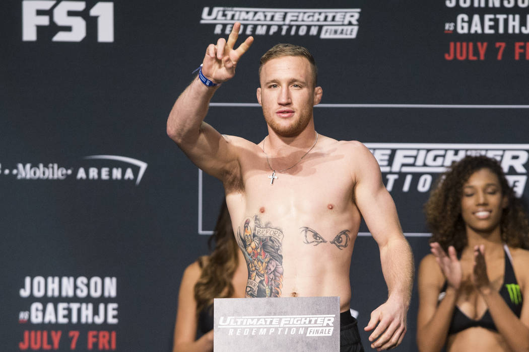 Justin Gaethje during the UFC Redemption Finale ceremonial weigh-ins at the Park Theater inside the Monte Carlo hotel-casino in Las Vegas, Thursday, July 6, 2017. Erik Verduzco/Las Vegas Review-Jo ...