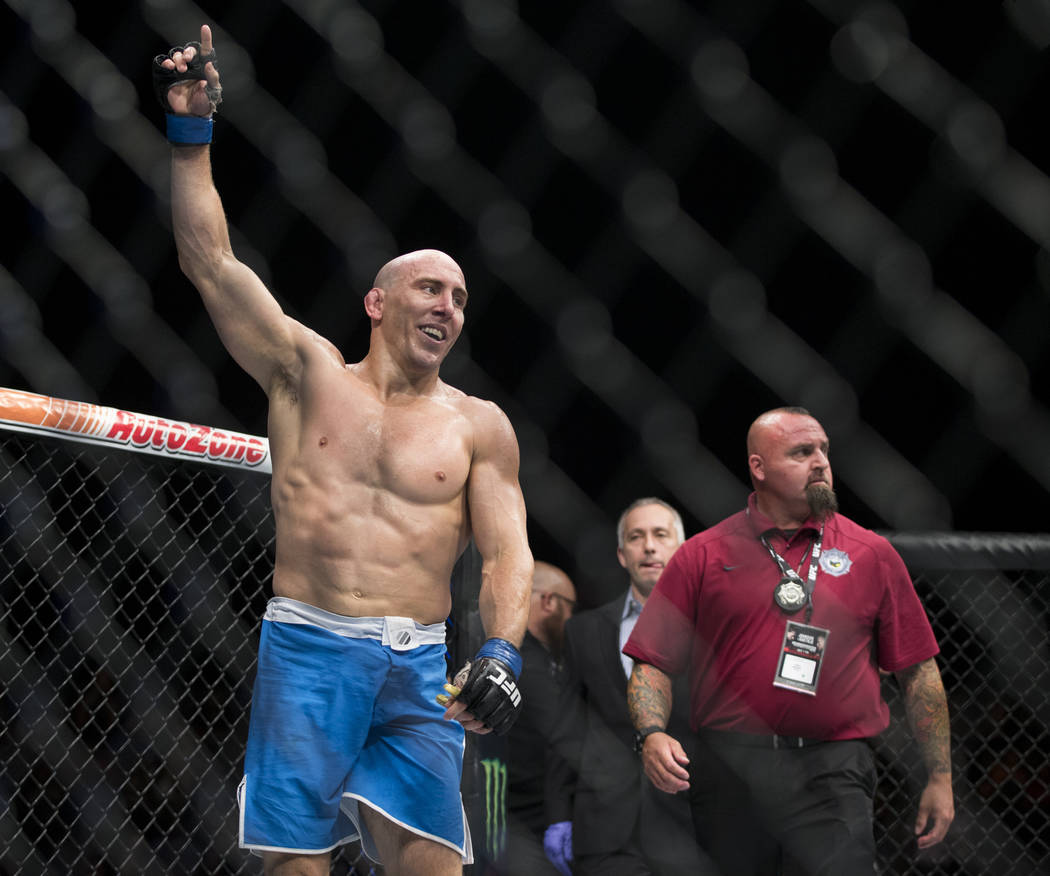 Jesse Taylor celebrates his submission win against Dhiego Lima in The Ultimate Fighter 25 welterweight bout at T-Mobile Arena in Las Vegas, Friday, July 7, 2017. Erik Verduzco Las Vegas Review-Jou ...