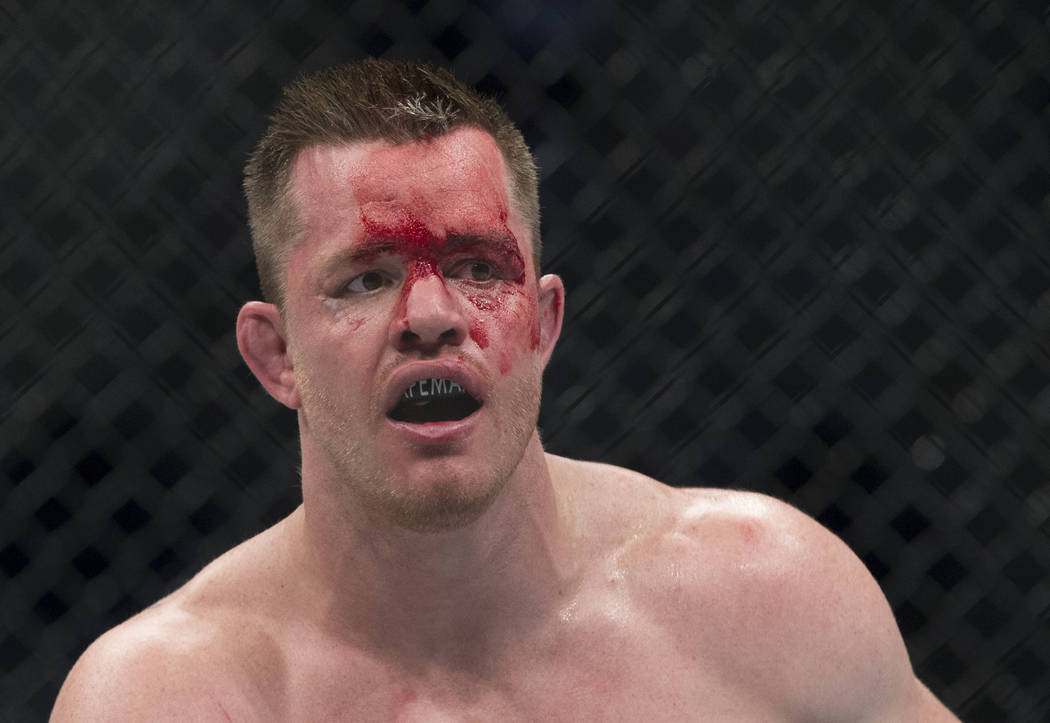 C.B. Dollaway during his fight against Ed Herman (not pictured) in the The Ultimate Fighter 25 light heavyweight bout at T-Mobile Arena in Las Vegas, Friday, July 7, 2017. Dollaway won by unanimou ...